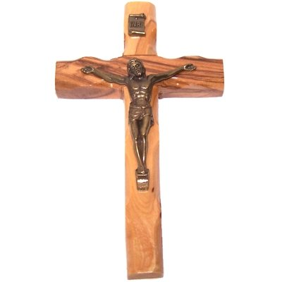 Small olive wood Crucifix - 4.75 inches