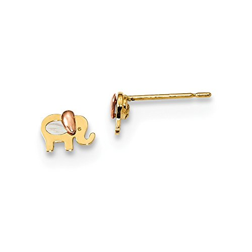 14k Yellow Gold Two Tone Childrens Mop Elephant Post Stud Earrings Ball Button Animal Wild Fine Jewelry Gifts For Women For Her ()