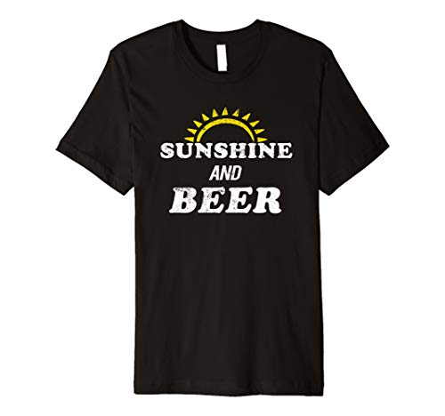 - Summer Drinking Shirt Alcohol Drinker Sunshine and Beer Premium T-Shirt