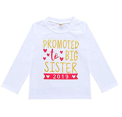 2019 Baby Girl Clothes Outfit Big Sister Letter Print T-Shirt Top Blouse Shirts (Red Long Sleeve, 4-5 Years) Big Sister Long Sleeve T-shirt