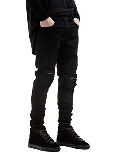 Alla Mode Da Marca Moda Strappati Uomo Donna Casual Slim Fit Jeans Vintage Nero Di Pantaloni Distrutti YTw7pqxA