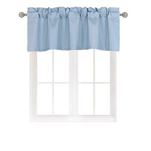 Home Queen Solid Rod Pocket Blackout Curtain Valance Window Treatment for Living Room, Short Straight Drape Valance, Set of 1, 54 X 18 inch, Slate Blue