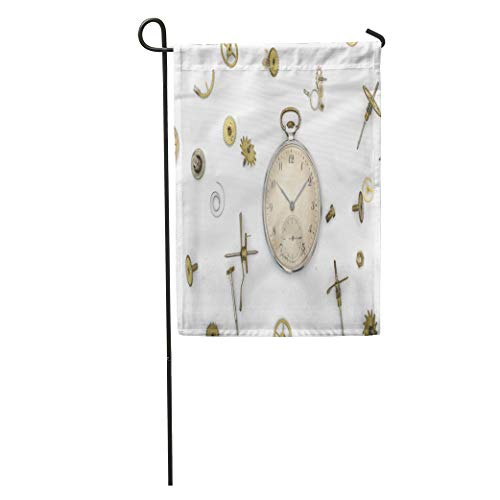Semtomn Garden Flag Watch of The Old Mechanical Pocket Watches and Details Punk Home Yard House Decor Barnner Outdoor Stand 28x40 Inches Flag ()