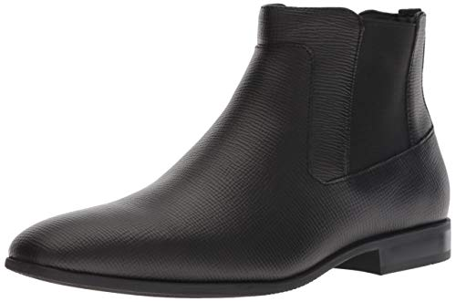 Calvin Klein Men's CHRISTOFF EPI Leather Chelsea Boot, Black, 9 M M US