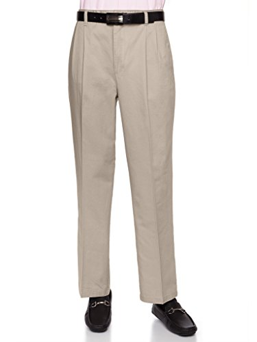 AKA Mens Wrinkle Free Chino Casual Pants - Traditional Fit Slacks Pleated-Front Chino Casual Pants Cotton Twill Khaki 44 Short