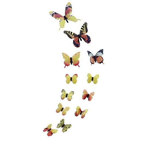 Zhuoju 12 PCS 3D DIY Wall Sticker Butterfly Home Decor Room Decorations New (Yellow)