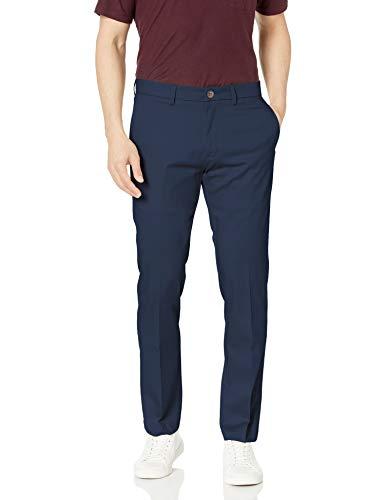 Haggar Men's Premium No Iron Khaki Slim Fit Flat Front Casual Pant, Dark Navy, 32Wx30L