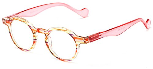 Readers Com The Bravo  1 75 Pink Multi Stripe Womens Fashionable Striped With Round Lenses Reading Glasses