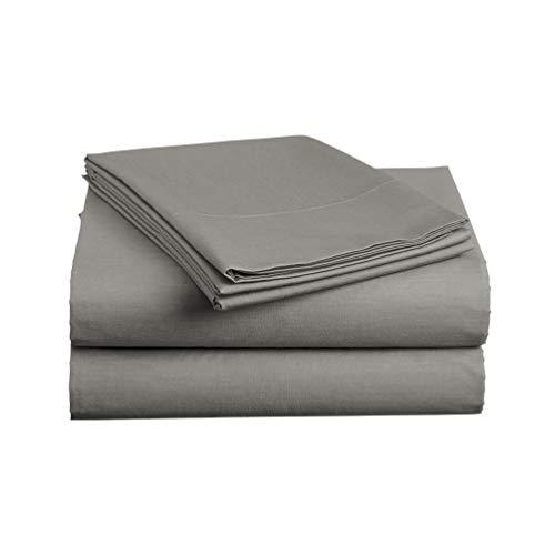 Luxe Bedding Sets - Queen Sheets 4 Piece, Flat Bed Sheets, Deep Pocket Fitted Sheet, Pillow Cases, Queen Sheet Set - Charcoal Gray - Piece Bedding 4 Silk