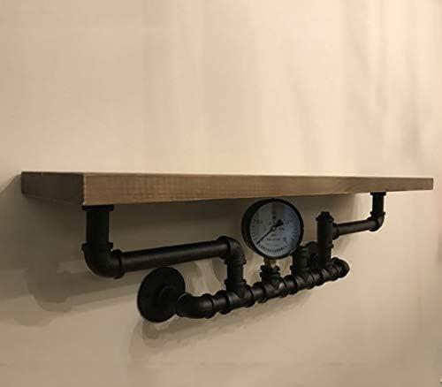 棚ウォールラックをフローティング/産業用パイプ棚本棚素朴なモダンな木製ラダーパイプ壁の棚1階層鍛造IronPipeデザインフラワー棚スタンド