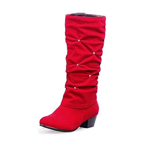 (Susanny Women's Mid Calf Rhinestone Boots Mid Heel Pullon Slouch Dress Boot Party Bling Shoes Red 7 B (M) US)