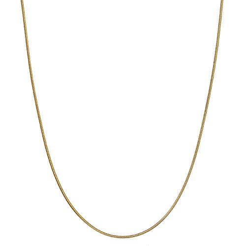 - 18K Gold Flashed Sterling Silver 1.2mm Classic Italian Snake Chain Necklace - 16