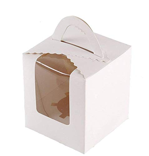 (25 Pcs Single White Cupcakes Containers Gift Boxes with Window Inserts Handle for Wedding Candy Boxes )