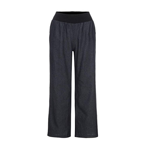 VEZAD High Waist Jeans Elasticity Denim Wide Leg Palazzo Pants Women Casual Trousers ()