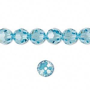 Swarovski Crystal 5000 8mm Aquamarine Faceted Round Beads - 12 -