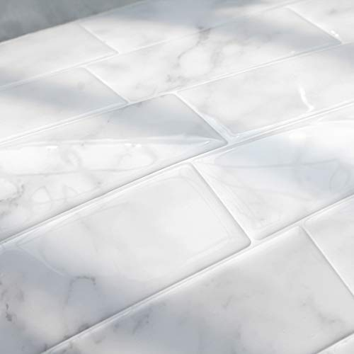 FARONZE Peel and Stick Tiles Backsplash,Self Adhesive Wall Tiles for Kitchen & Bathroom Calacatta Marble Design 11.25