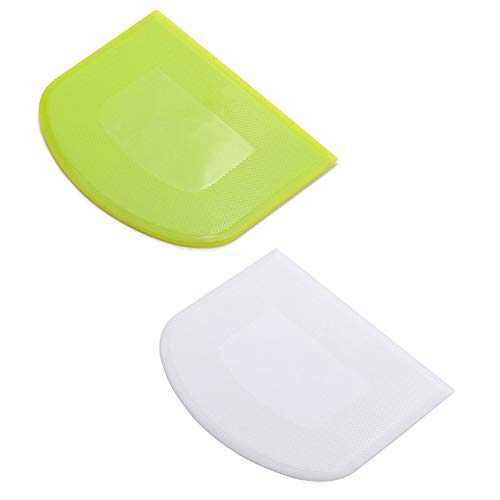 2 Pieces Dough Scraper Bowl Scraper Food-safe Plastic Dough Cutter Flexible Plastic Scraper Practical Bench Scraper Multipurpose Food Scrappers for Bread Dough Cake Fondant Icing, White, Green