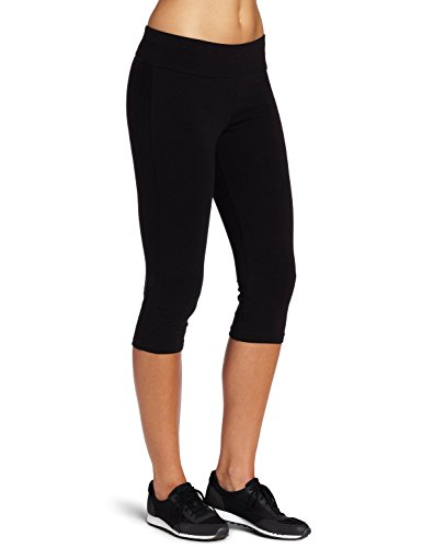 ABUSA Women's Cotton Tights YOGA Capri Leggings Running Workout Pants Size L Black (Black Pants Exercise)