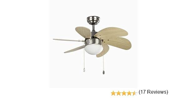 Faro palao - Ventilador palao 6 palas diámetro 75cm e14 40w niquel mate: Amazon.es: Iluminación