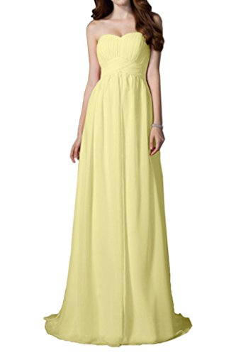 Gown Dress Chiffon Party Floor Avril Strapless Length Light Yellow Simple up Lace Bridesmaid g6Aq4wAz