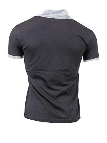 T-Shirt mit Schalkragen - schwarz Größe M