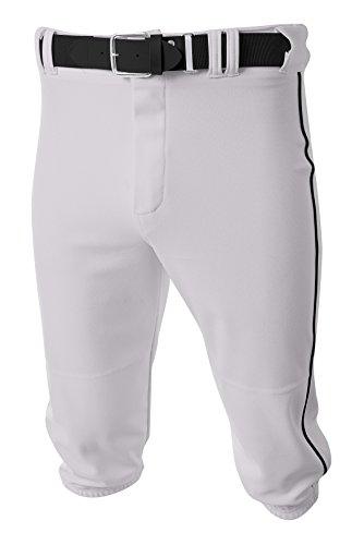 A4 Youth Baseball Knicker Pant, Medium, White/Black A4 Youth Baseball Pant