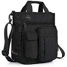 LECHAO Crossbody Messenger Bag for Men/Multifunction Shoulder Bag/Business Laptop Bag/College School Bookbag (black)
