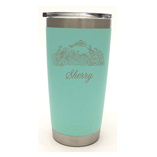 (YETI Rambler Dolphin Design w/Custom Name Design Laser Bonded Yeti Rambler Stainless Steel Travel Mug - NOT A)