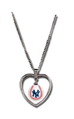 New York Yankees - MLB Mini Baseball Heart Pendant Necklace ()