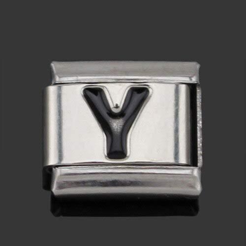 - Original Daisy Black 26 Letters A-Z Italian Charms | Fit 9Mm Bracelet Stainless Steel Jewelry Making (9Mm Width)