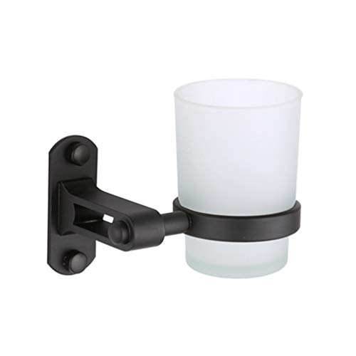 LUDSUY Bathroom Accessories Matte Black Models Space Aluminum Single Cup Holder Tumbler Frosted Glass Pendant Wholesale Bathroom