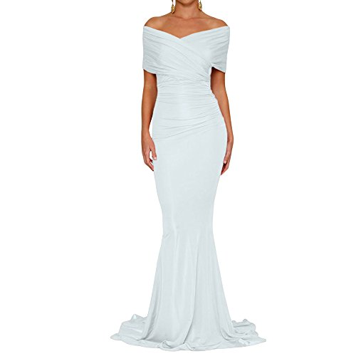 Queen Area Womens Sexy White Off The Shoulder Mermaid Wedding Evening Party Gown (US 4-6)S