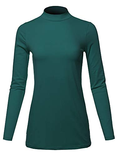 A2Y Basic Solid Soft Cotton Long Sleeve Mock Neck Top Shirts, Yawtel0002 Hunter Green, (Definition Fitted T-shirt)