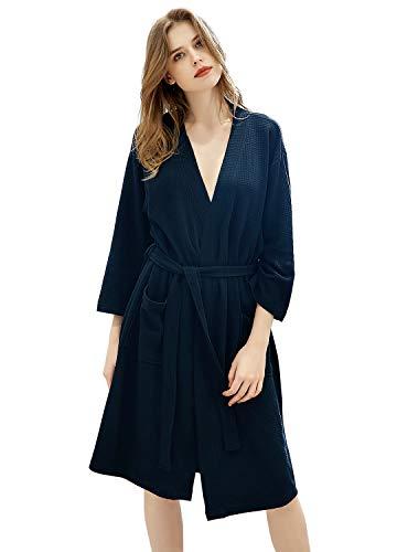 Womens Robe Lightweight Cotton Bathrobe Kimono Knee Length Spa Plus Size Soft Loungewear Hotel Robes for Ladies (Large/X-Large, Navy Blue) ()