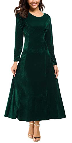 Urban CoCo Women's Elegant Long Sleeve Ruched Velvet Stretchy Long Dress (2XL, Green)