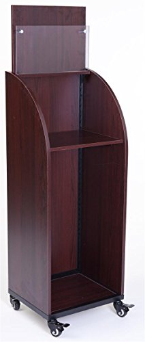 Displays2go Red Mahogany Finish Mobile Newspaper Stand with Adjustable Shelf Clear Acrylic Display Pocket and Swiveling Casters Included (WNPROPDRM) by Displays2go