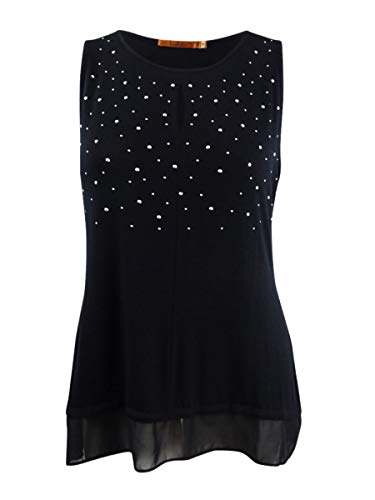 - Belldini Womens Plus Chiffon Studded Tank Top Black 1X