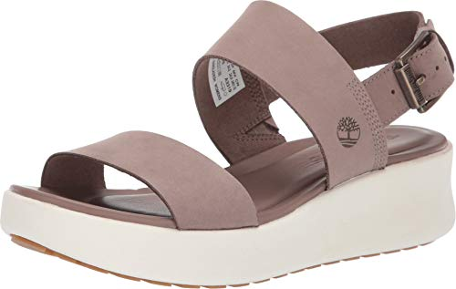 Timberland Women's Los Angeles Wind 2-Bands Sandal Taupe Nubuck 8 B US (Shoes Timberland Womens)