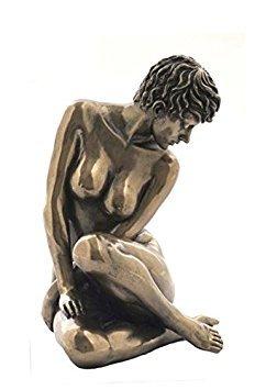 - Bronzed Finish Sitting Nude Female Sculpture