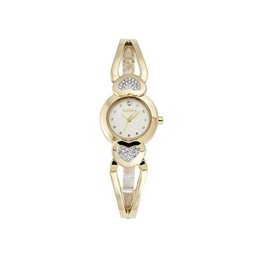Elgin Women s Heart Crystal Accented Half Bangle Watch EG7044