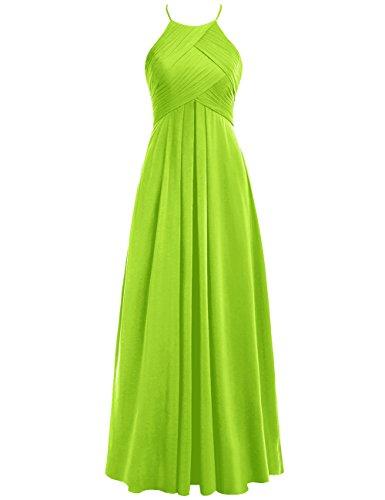 Cdress Des Femmes De Plis Licol Robes De Demoiselle D'honneur En Mousseline De Soie Longue Taille Plus Robe De Bal Lime_green