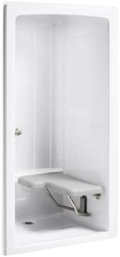 Kohler K-12100-C-0 Freewill One-Piece Barrier-Free Transfer Shower Module with Brushed Stainless Steel Grab Bars and Seat on Right, 45
