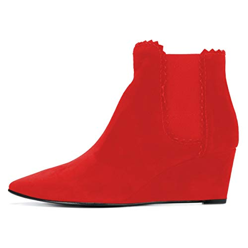 Mid Elastic Women Ankle Toe Pointed Booties YDN Red Wedge Shoes Boots Heel Pull on PaqwWtC