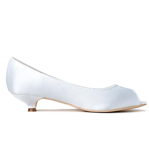 L@YC Female Wedding Shoes # 0700-01 Fish Mouth/Party/Silk/Clothes Comfortable Low Ivory White # Purple Ljhh7DMZU