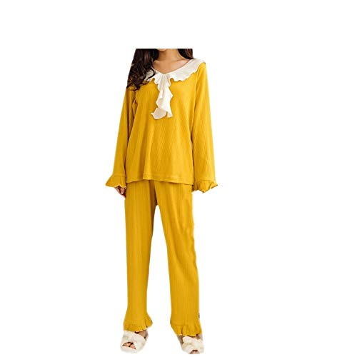 De Pijamas Conjunto Para Encaje Lindos Dulces Hogar Manga El Mmllse Mujer Yellow Larga Ax5qw