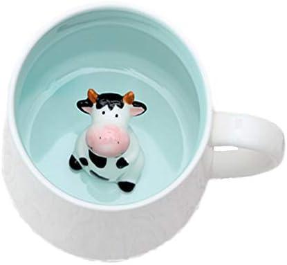 ZaH Coffee Mug Cartoon Animal Ceramic Cup Christmas Birthday Gift for Kids Boys Girls Cow
