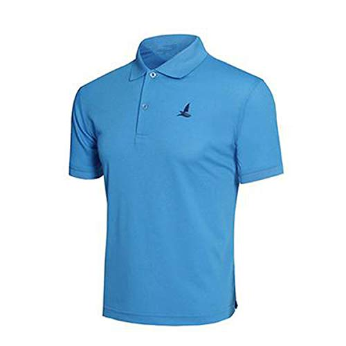 GUANGXINNI 2019 Quick Dry Polo Shirt for Men Turndown Collar Breathable Solid Casual Men's Shirts PS0019,Blue,M