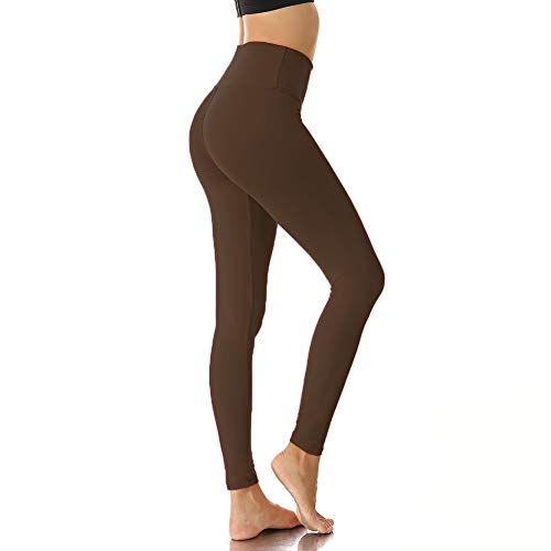 Womens High Waisted Leggings for Women-Tummy Control and Elastic Opaque Slim Pants-One/Plus Size 20+ Design (02 Brown, One Size (US 2-12))