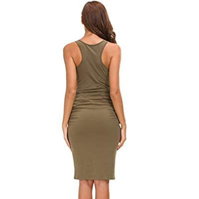 Missufe Women's Sleeveless Racerback Tank Ruched Bodycon Sundress Midi Fitted Casual Dress: Clothing