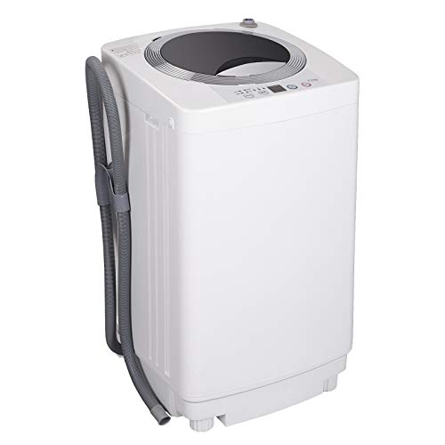ZENSTYLE Full-Automatic Mini Multifunctional Washing Machine Portable Compact Design 8 LB Top Load Laundry Washer/Spinner w/Drain Pump, 5.74 FT Power Cord, 6.57 FT Inlet Hose